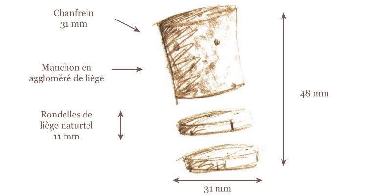 Bouchons à Champagne Agglo 2 Rondelles – 31*48 mm