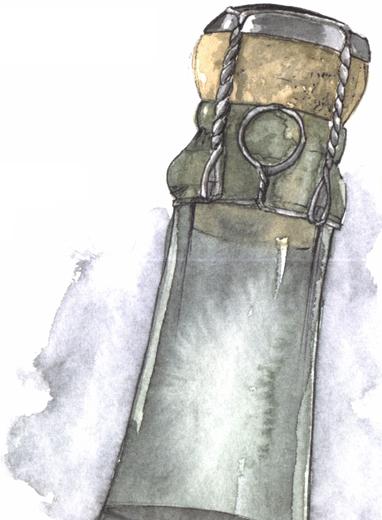 Assemblage du bouchon à champagne, la forme champignon.