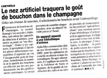 """technologie du """"nez électronique"""" sélection des bouchons à champagne"""